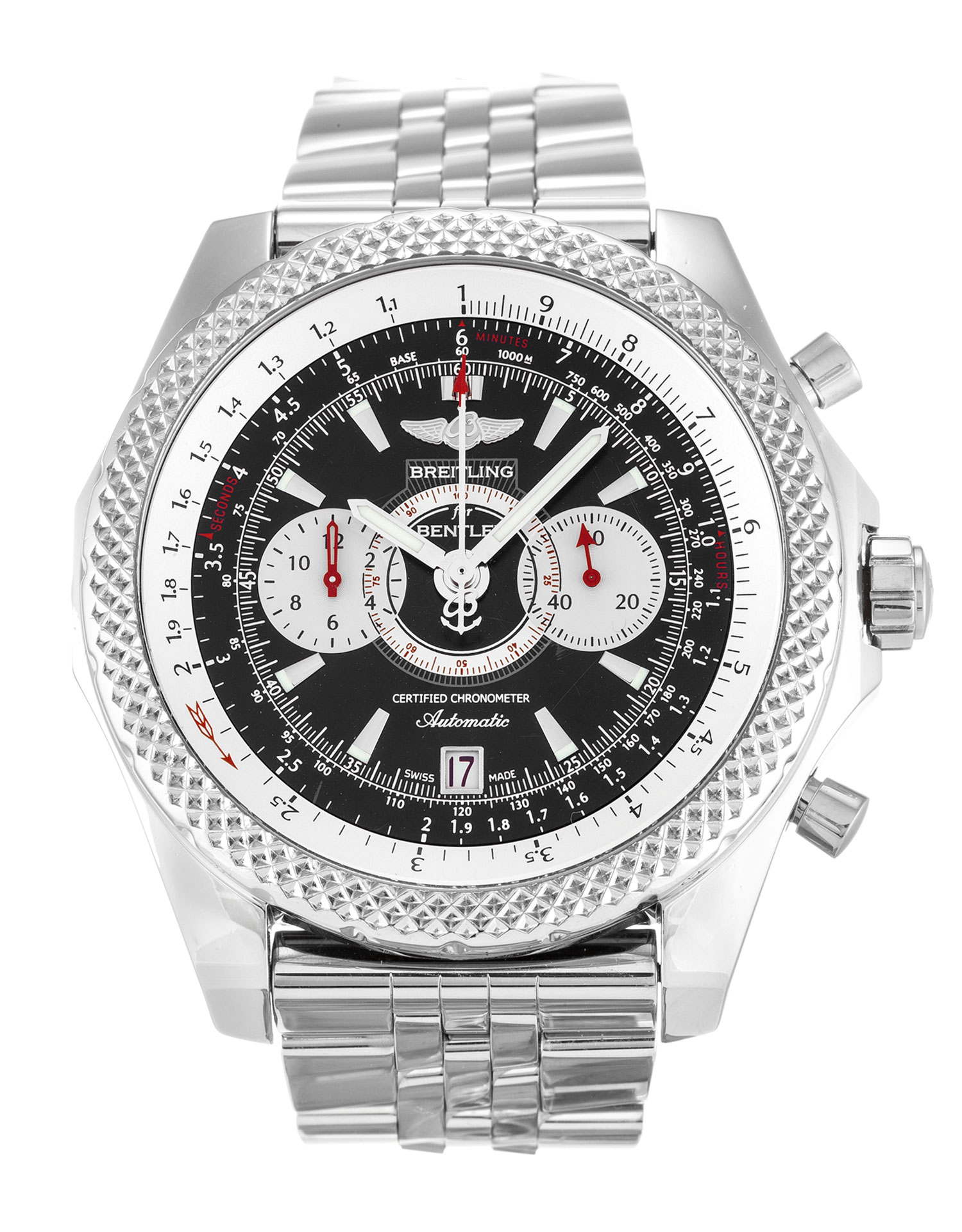 breitling i bentley chronometer watch speed silver chronograph dial