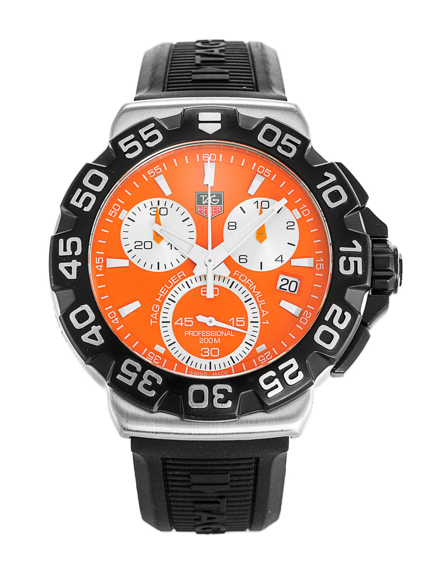 63a64cca340 Tag Heuer Men s CAH1113.BT0714 Formula 1 Chronograph Black Rubber ...
