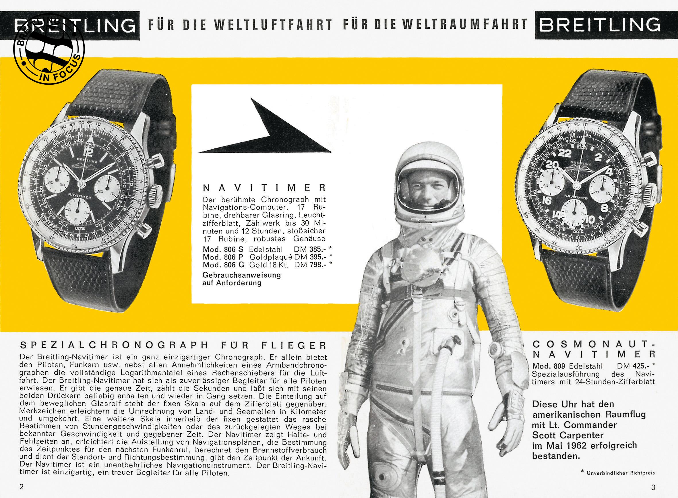 NASA astronaut Scott Carpenter wore a Breitling in space