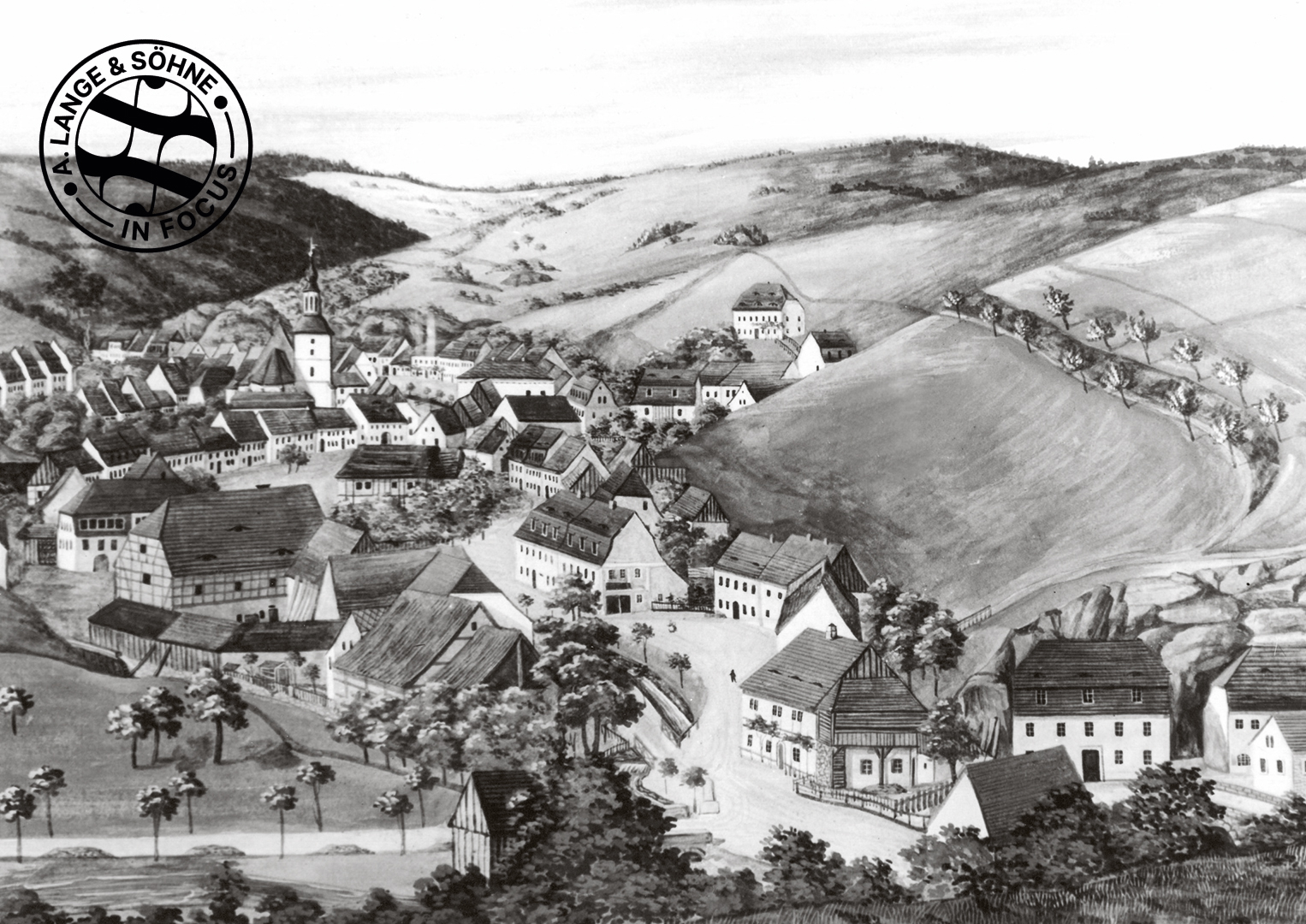 A sketch of Glashütte in the mid-19th century when its watchmaking traditions began