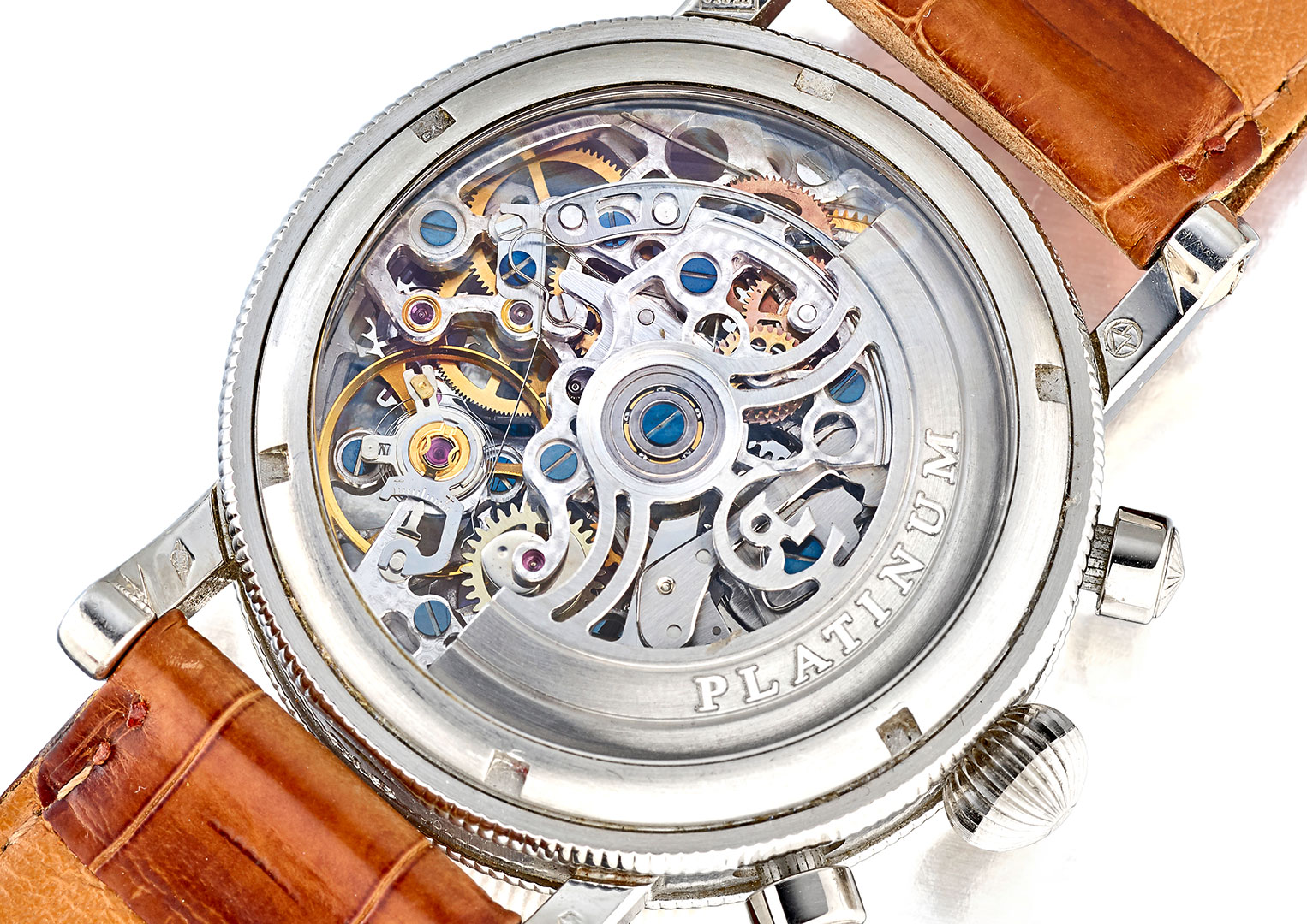 A modified Valjoux Calibre 7750 seen through the exhibition caseback of a Chronoswiss watch