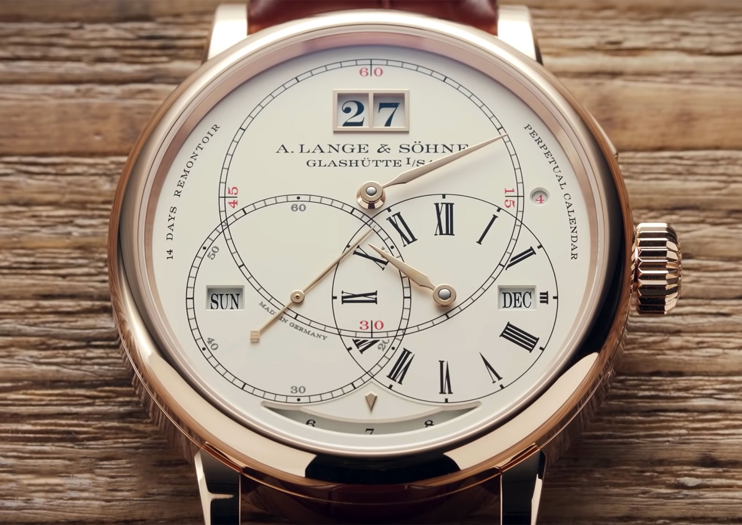 The A. Lange & Söhne Richard Lange Perpetual Calendar Terraluna has a power reserve of two weeks
