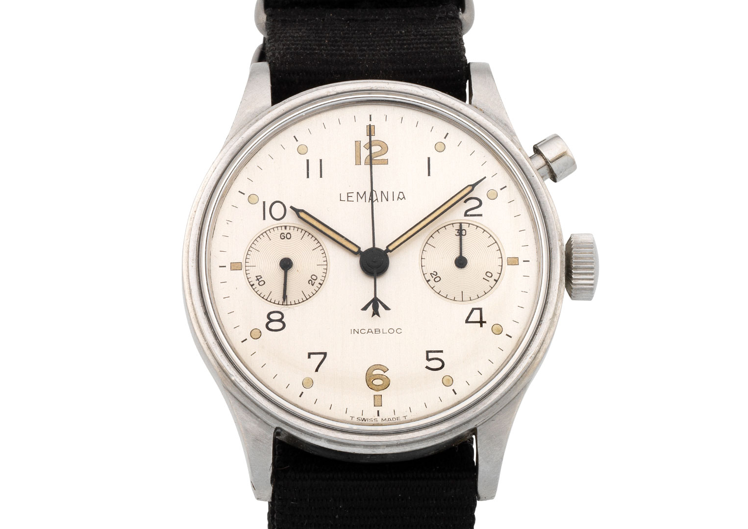 A Lemania military-issue chronograph, circa 1960, that sold for £2,125 at Bonhams in 2018