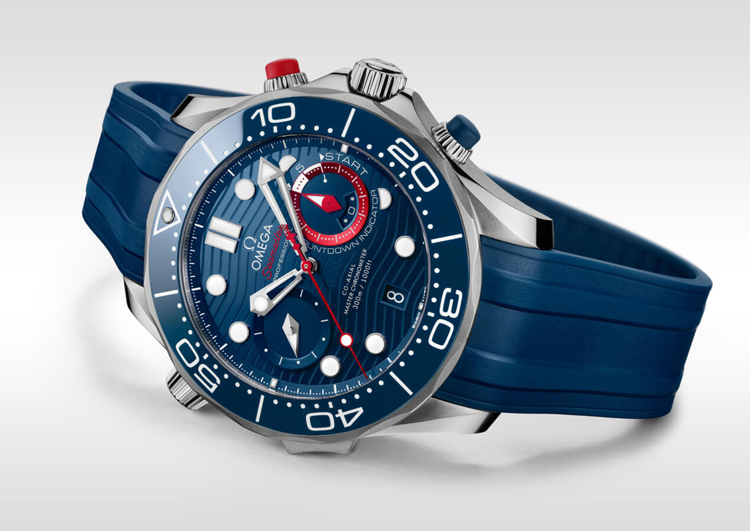 The Omega Seamaster Diver 300M America's Cup Chronograph has rubberised chronograph pushers for improved grip in wet conditions)