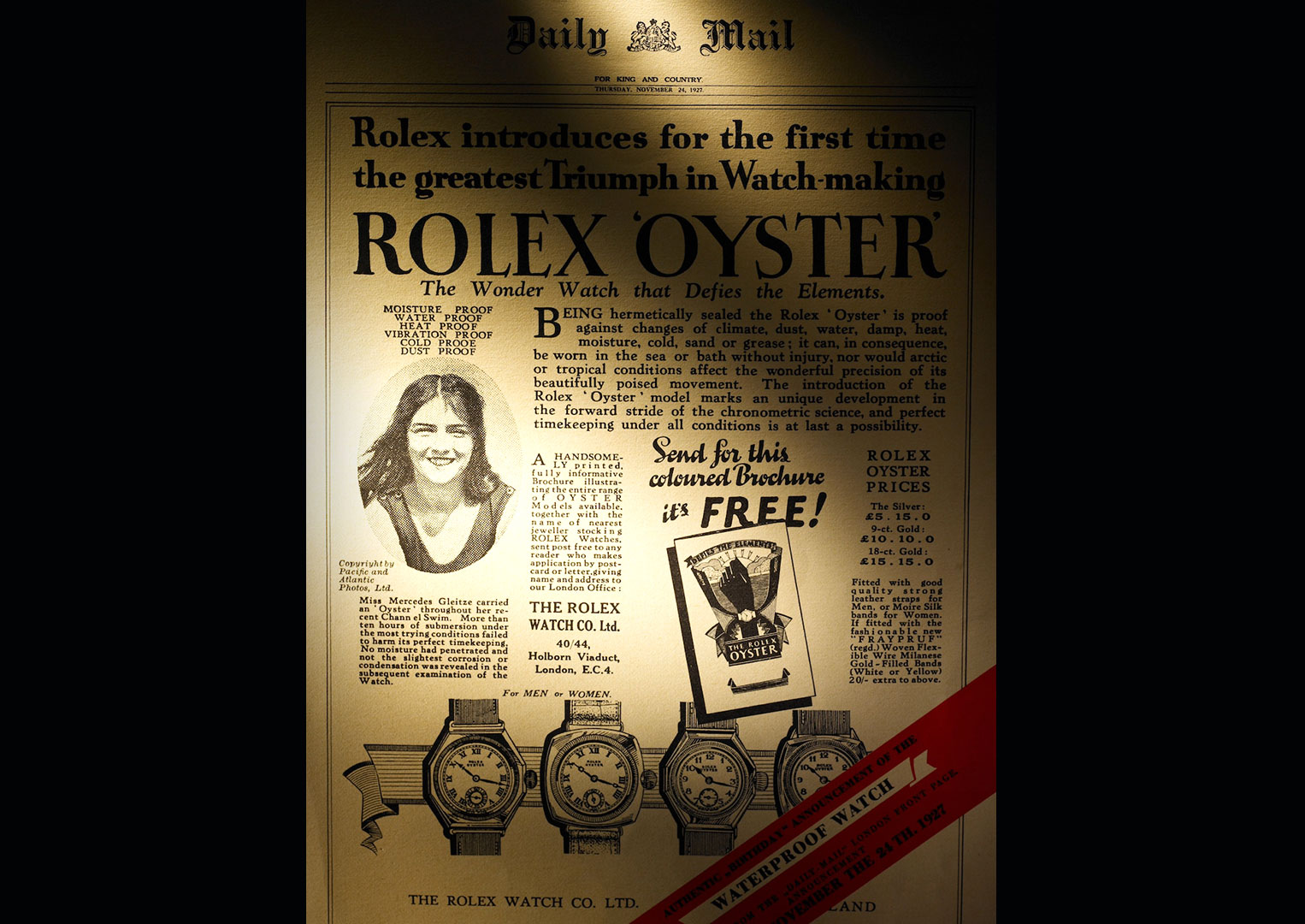 A Rolex advert featuring Mercedes Gleitze, the first woman to swim the English channel