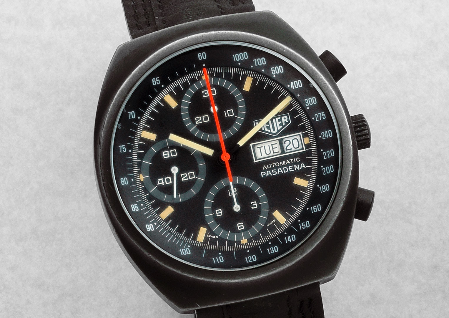A Heuer Pasadena chronograph from 1981 powered by a Valjoux Calibre 7750. Image courtesy of Bonhams.