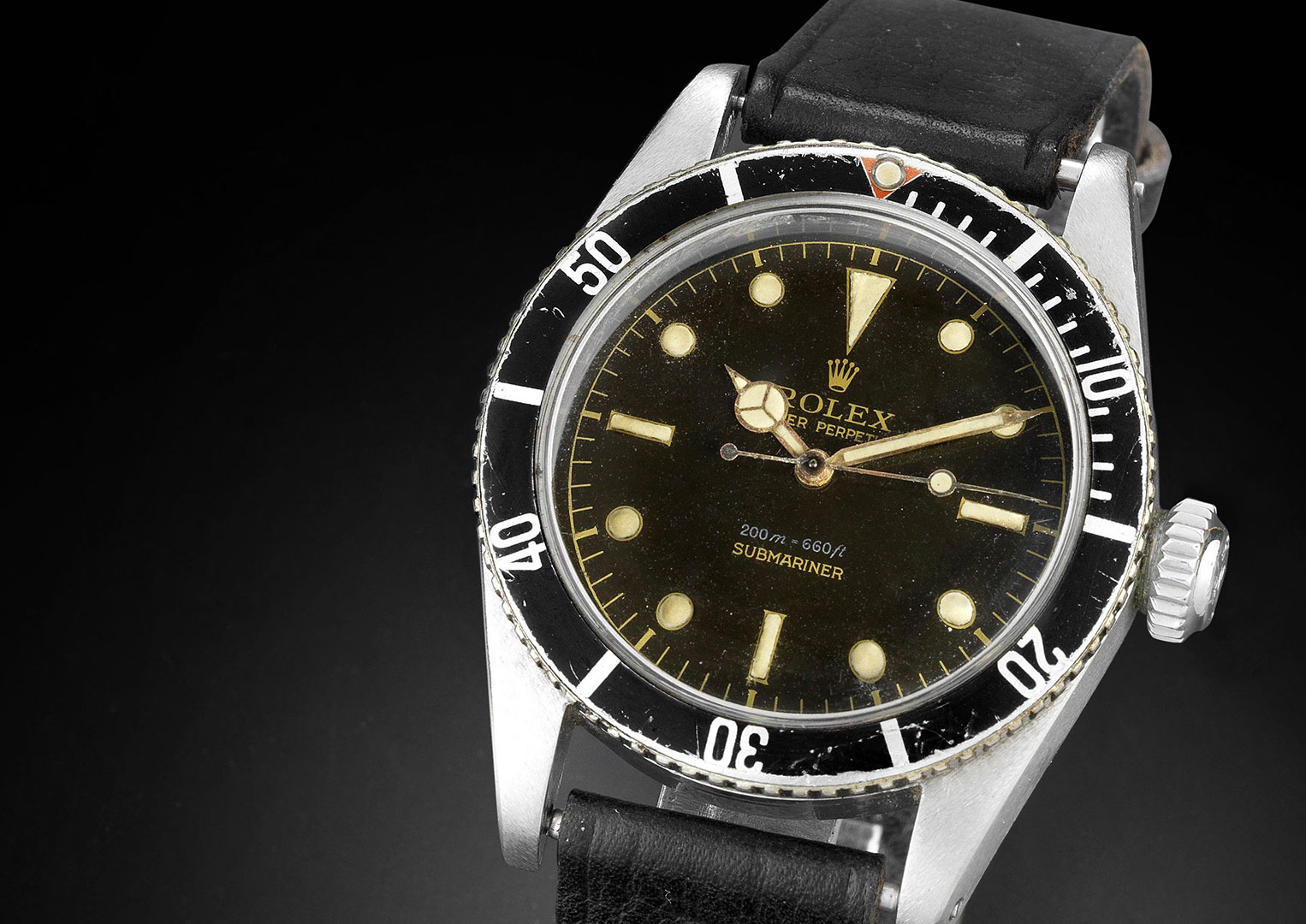 Bond wore a Rolex Submariner Reference 6538 in the first three films. Image courtesy of Bonhams.
